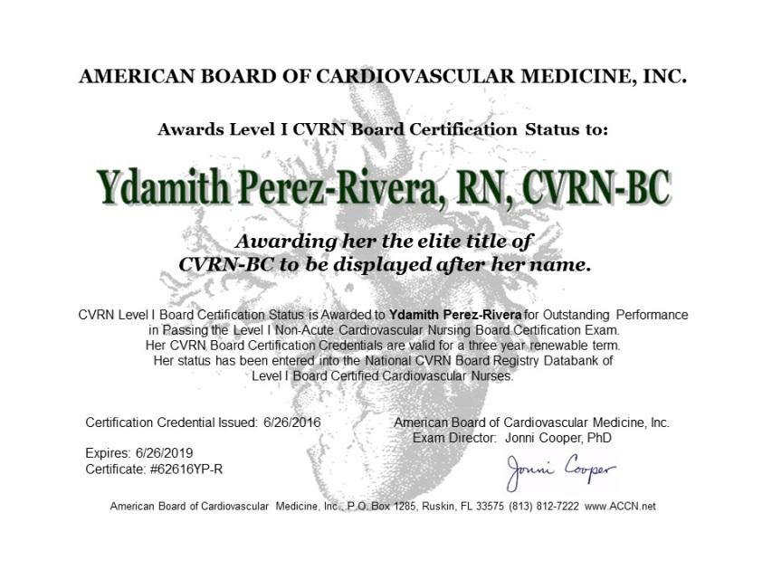 Cardiovascular Nurse Certificate