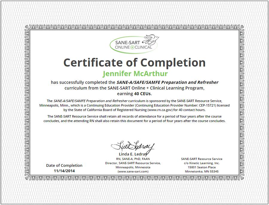 certificate sane forensic nurse