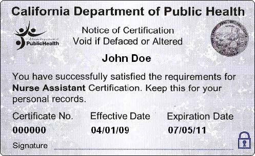 certified nurse assistant certificate
